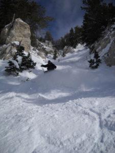 "Matthew Wallace skiing the ""Poop Chute"" at Snowbird, Utah"