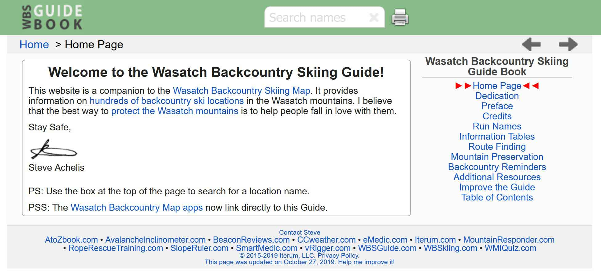 Wasatch Backcountry Guide Book - Homepage