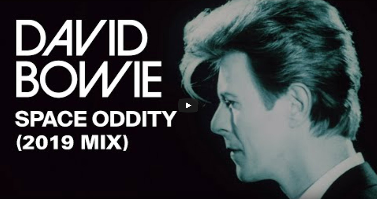 The video features footage of David Bowie performing Space Oddity at his 50th birthday concert at Madison Square Garden in 1997.