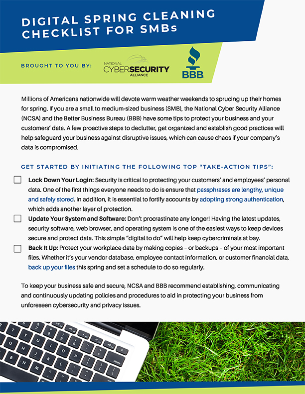 Digital Spring Cleaning Checklist for SMBs. (Click image to download the full checklist.)