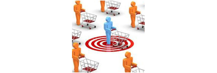 shopper with shopping cart standing in a target, illustration - Credit: TC Group Solutions