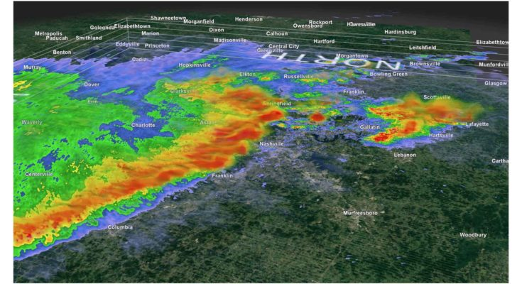 Doppler radar reveals the powerful, curved line of thunderstorms racing into Nashville on Sunday. (GR2 Analyst)