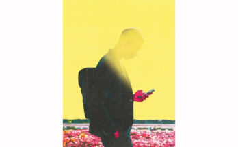 conceptual illustration of a mans face being obscured by his phone. Selman design
