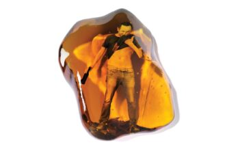 conceptual illustration of a young man drinking a beer, trapped inside a piece of amber - Peter Crowther