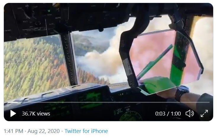 VIDEO: Here's is some flight deck footage of our MAFFS aircraft assisting @Cal_OES @forestservice with wildfire suppression efforts in California