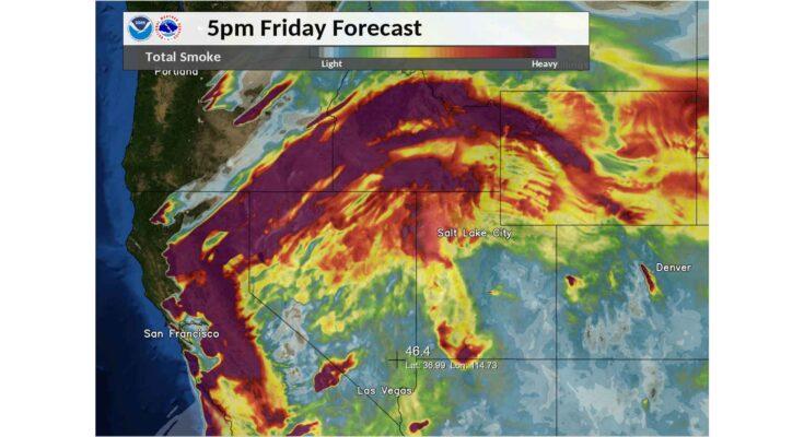 US National Weather Service Salt Lake City Utah - Satellite Imagery of Smoke over Western US - 2020 Aug 21