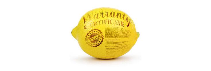 lemon as warranty certificate - Credit: Shutterstock / Andrij Borys Associates