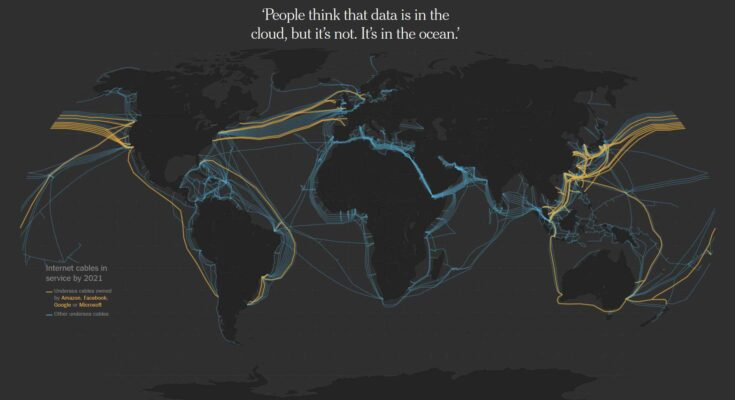 How the Internet Travels Across Oceans - Graphics by Karl Russell, Troy Griggs and Blacki Migliozzi.