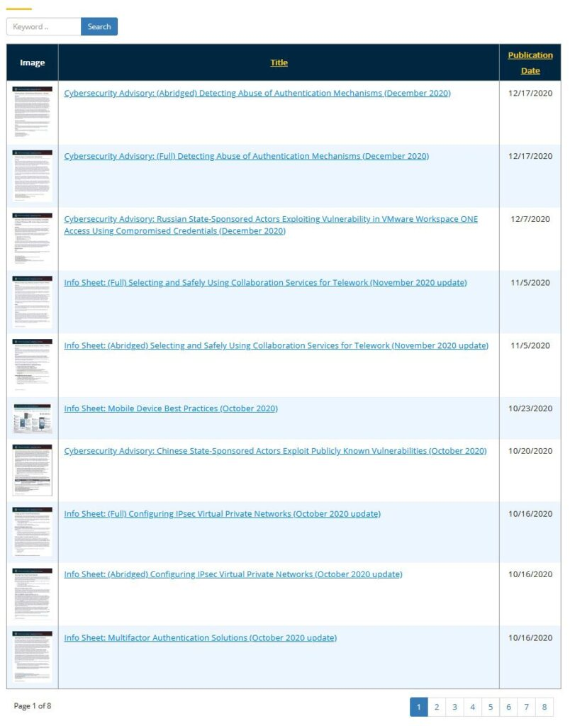 Screenshot of Cybersecurity Advisories & Technical Guidance listing of available documents.