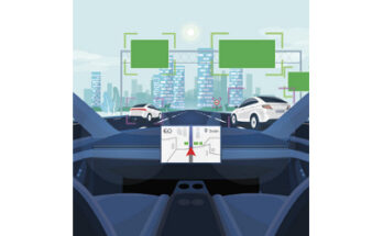view from inside a self-driving vehicle, illustration - Credit: Petovarga