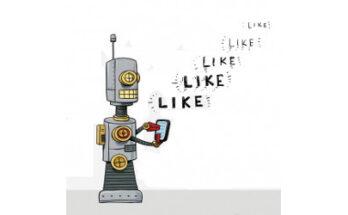 robot with phone 'like' 'like' 'like', illustration - Credit: Poynter