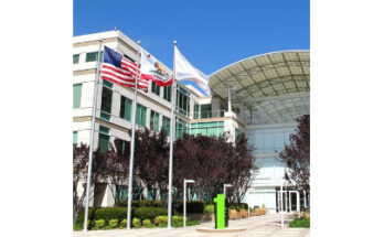 flags flying at Apple headquarters - Credit: Apple Insider