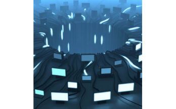 computers at edge of crator, illustration - Credit: Novikov Aleksey