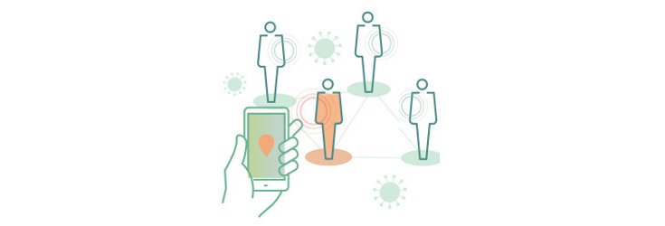 four individuals and a hand holding a mobile phone, illustration - Credit: DesignPrax