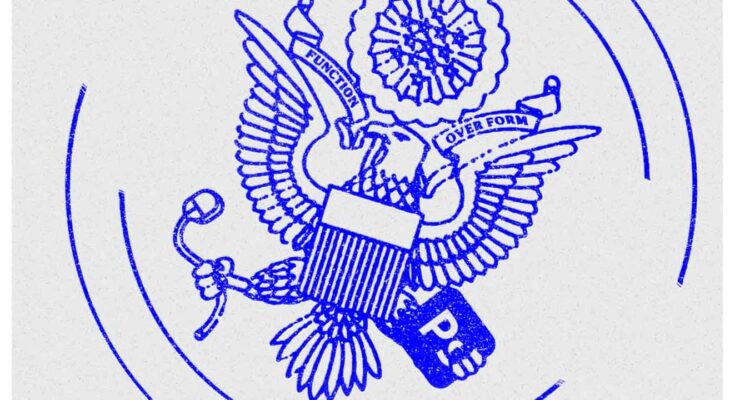 Illustration of US Government Seal depicting a bald eagle holding a computer mouse and photoshop icon - Illustration: Sam Whitney; Getty Images
