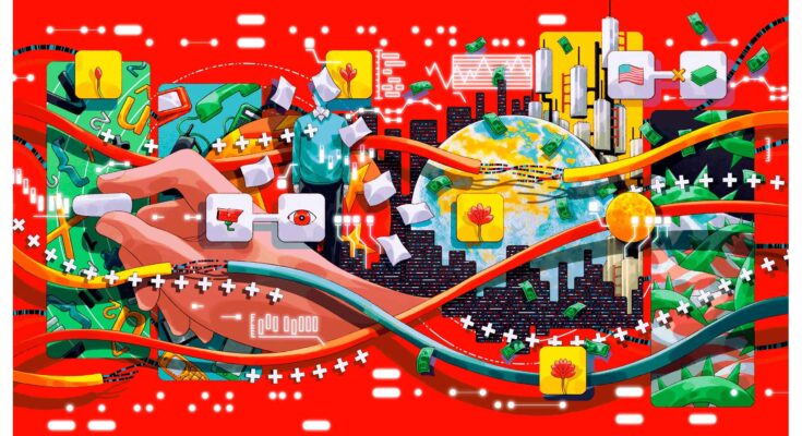 illustration of a city overlaid with wires cash and technology - Illustration: MOJO WANG
