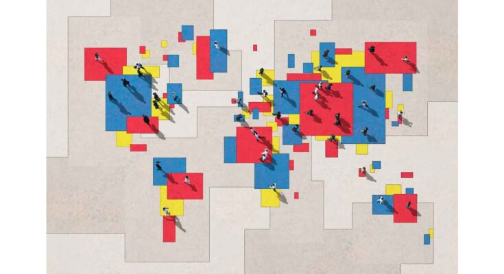 blocky world map with people - Illustration: Hiroshi Watanabe
