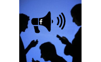mobile phone users and a megaphone with Facebook icon, illustration