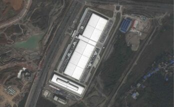 The Apple data center in Guiyang as seen in a satellite image. Apple plans to store the personal data of its Chinese customers there on computer servers run by a state-owned Chinese firm. - Credit: CNES/AIRBUS