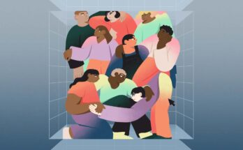 an illustration of a group of people tightly huddled together - Illustration: Janice Chang