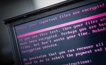 A laptop displays a message after being infected by a ransomware as part of a worldwide cyberattack on in Geldrop. ROB ENGELAAR/ANP/AFP via Getty Images